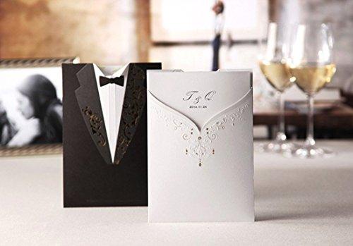 vstoy wishmade Pocket Hochzeit Einladungen Karten schwarz und weiß 20Stück Set für Ehe Verlobungsring Bräutigam und Braut Design Gold Stamping mit Umschlägen Dichtungen Partyzubehör (Hochzeit-karte Foto-box)