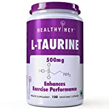 #6: HealthyHey L-Taurine 500mg - Amino Acid Supplement - 120 Vegetable Capsules
