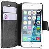 JAMMYLIZARD   Wildleder Tasche für [ iPhone 5 / 5s und iPhone SE ] Flip Cover Hülle, SCHWARZ