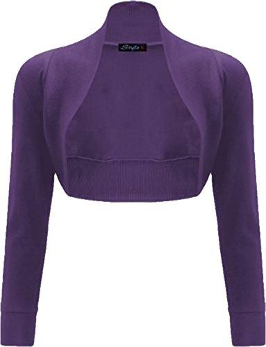 Janisramone donne cotone liscio costine top a manica lunga bolero scrollata di spalle Viola