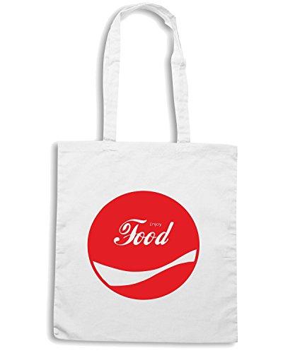 T-Shirtshock - Borsa Shopping ENJOY0054 Enjoy Food Bianco