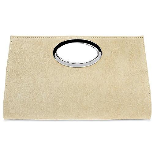 CASPAR TL699 große Damen XXL Wildleder Clutch Tasche Handtasche Abendtasche Ledertasche, Farbe:hell beige (Collection-leder-kleiner Messenger)