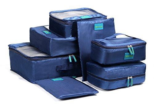 MonTrüe Set de 7 cubos de equipaje | Organizadores multifuncionales para maletas de viaje | Juego económico de 7 organizadores de viaje | Ideales para bolsos de viaje, maletas y mochilas, Azul