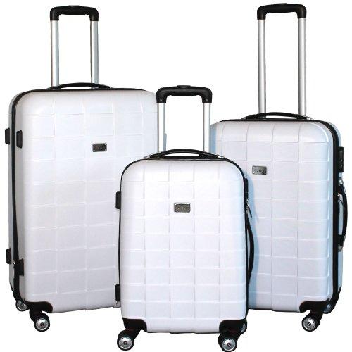 BERWIN Kofferset 3-teilig Reisekoffer Koffer Trolley Hartschalenkoffer ABS Teleskopgriff Modell Squares (Weiß)