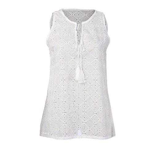 OverDose Damen Frauen Trägershirts Bustier Bra Weste Ernte Bralette Shirt Bluse Cami B-B-Weiß