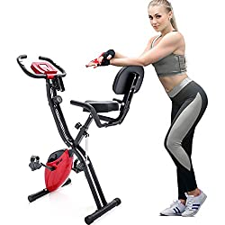 Merax Fitness Bike, Exercise Bike Folding with Expander Bands Indoor Cycling Bike, 10-Step Magnetic Resistance Fitness Exercise Bike Exerciser Folding X-Bike Foldable Fitness Bike (Red)