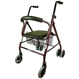 Deambulatore con 4 ruote per anziani   Freni a Pressione   Alluminio Ultraleggero   Con Seduta e Cestino   Design Elegante Cromato   BESTSELLER   Mod. Prado   Mobiclinic