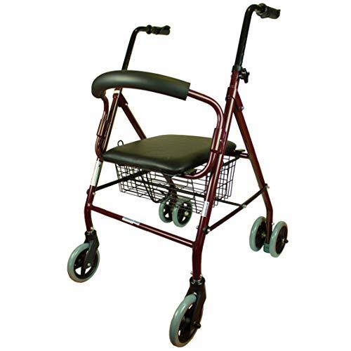 Mobiclinic Andador para Ancianos de 4 Ruedas | Frenos por Presión | Aluminio Ultraligero | Regulable en Altura | Plegable | con Asiento y Cesta | Elegante Diseño Cromado | Top Ventas | Modelo Prado