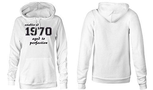 Established 1970 aged to perfection �?Hoodie Kapuzen-Pullover Frauen-Damen �?hochwertig bedruckt mit lustigem Spruch �?Die perfekte Geschenk-Idee (02) weiss
