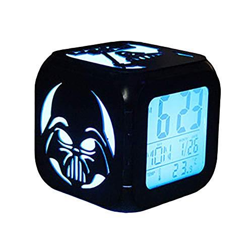 FV-cuerd 3D Estéreo Despertador LED Luz de Noche Negro Samurai Creative USB Cargador de Alarma (Siete Colores)