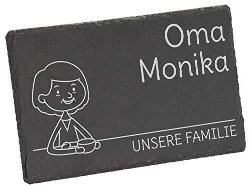 LAUBLUST Frühstücksbrettchen Motiv Oma - Personalisiert mit individueller Wunsch-Gravur - 24x15cm...