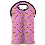 Balalaika Muscial Instruments Two Bottle Wine Carrier Tote Bag Neoprene Wine/Water Bottle Holder Keeps Bottles Protected New10