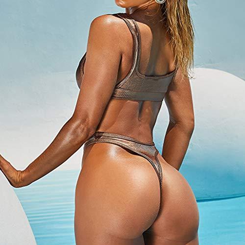 Bikini-Sets Damen, Geteilter Badeanzug Frauen Einfarbiges Gefaltet Schwimmanzug High Waist Slip Badeanzüge Bademode Strandmode Swimsuit Swimwear Bekleidung (Gold, L) - 4