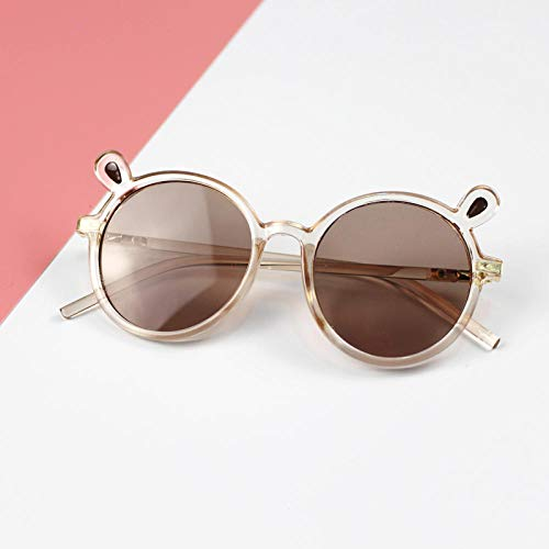 CYCY Mode Kindersonnenbrille Jungen und Mädchen Sonnenbrille Kleines Mädchen Sonnenblende Baby Dekoration Runde Brille 1# Blau Kleine Ohren, 4# Braun Kleine Ohren