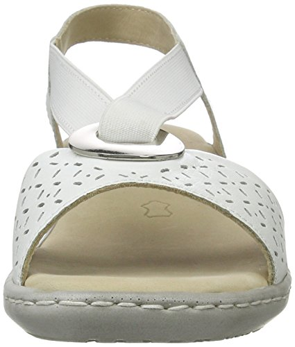 Caprice 28603, Sandales Bout Ouvert Femme Blanc (White Nappa)