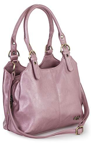 Big Handbag Shop Mehrfachtaschen Mittlere Größe Umhängetasche/Schultertasche für Frauen - Mit langem Schulterriemen - AMELIA (Mabel - Metallisch Rosa) - Armband Damen-schulter-tasche