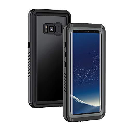 Lanhiem Wasserdichte Hülle Kompatibel mit Galaxy S8 Samsung, [IP68 Zertifiziert Wasserdicht] Handy Hülle, Stoßfest Staubdicht und Unterwasser Outdoor Schutzhülle, Schwarz + Grau