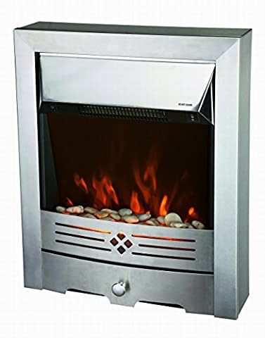 Freestanding Electric Fireplace 2 KW/1 KW Brushed Stainless Steel Fire - Planted LED Flame with Pebble Bed ( Pebbles Supplied ) Glow Effect