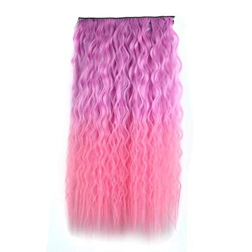 Haar Toner-highlights (Perücke weiblichen flauschigen natürlichen Mais dauerhafte lange lockige Haare einteilige Farbe Highlights Perücke Stück Wasser Welligkeit Haarverlängerung, warme Toner-Gefälle)