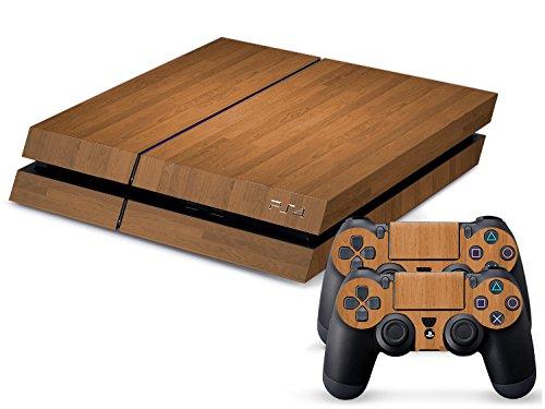 Gaminger Playstation 4 Designfolie Sticker Skin Set für Konsole + 2 Controller - Holzoptik 1