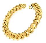 Panzerarmband Gold Doublé 11 mm, 26 cm, Armband Herren-Armband Goldarmband Damen Geschenk Schmuck ab Fabrik Italien tendenze GGY11-26