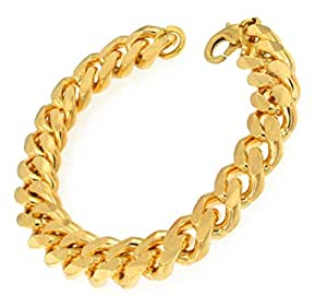 "TENDENZE Curb Chain Bracelet, Gold Plated, 11mm Length 27cm/10.63"", directly from the italian factory"
