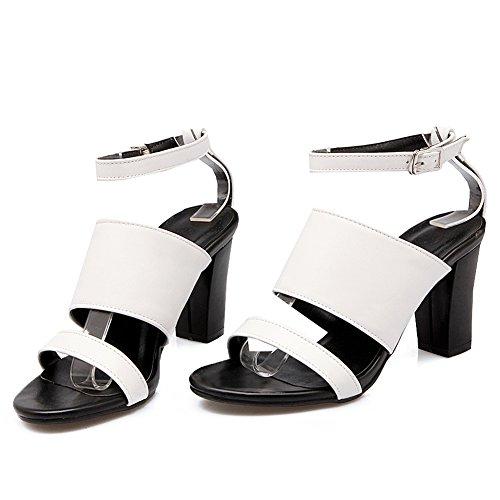 Damen Sandalen Open Toe High-Heel Blockabsatz Knöchelriemchen Schnalle Weiß