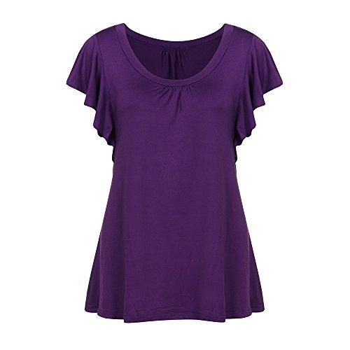 TWIFER Damen Kurzarm Sommer T Shirt Fledermaus Ärmel O Hals Plissee Tops Casual Flowy T Shirt Tunika