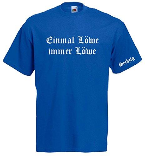 1860 München Fussball T-Shirt   Sechzig - Einmal Löwe, immer Löwe   Münchner Löwen Royalblau
