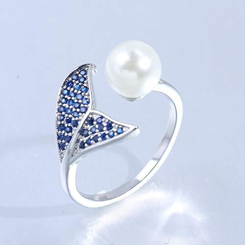 Damen 925 Sterling Silber Ring, Blue Mermaid Schwanz Design Sanfte Perle Verziert Mode Romantisch Elegant Fingerring Dame, Urlaub Geschenk Jahrestag Hochzeit Engagement Engagement Brautschmuck