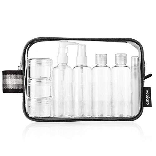 MOCOCITO Kulturbeutel Durchsichtig mit 8 Flaschen Reiseset(max.100ml) und Plastikbeutel für Flüssigkeiten Zugelassen(20x20cm) Nach EU Handgepäckbestimmungen [Schwarz] -