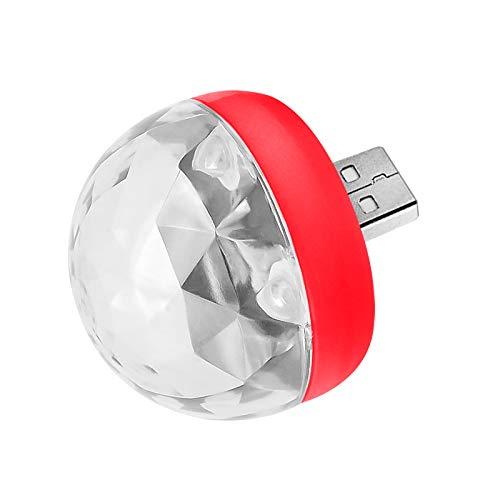 KEKEKEDA USB Party Lights Mini Disco Ball LED Small Magic Ball Sound Control DJ Bühnenlicht bunt Strobe RGB Lampe, Red Bulb, for Android (Red Disco Balls)