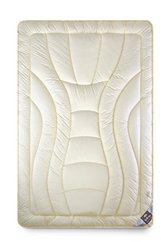 Wolle Duo-Bettdecke 155x220 Premium Qualität mit feinste, äußerst bauschige echter Schurwolle gefüllt - extrawarm. Bezug Mako-Satin mit Seidenfinish, 100{18f2773bd65d9ff6d552edd9c131d966c3de0c407fe53bbce62573b6cc3d98b9} Baumwolle.