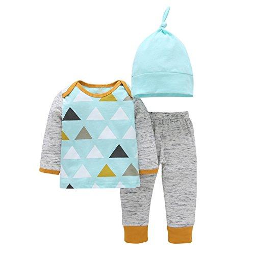 CHIC-CHIC Ensemble Pyjama Pull Bébé Garçon Fille Enfants Pull-over T-shirt à Manches Longues + Pantalons + Bonnet Noël Bleu 12-18mois