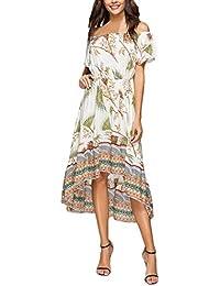 Vestidos Verano Mujer Fiesta Impresión Floral Boho Vestido Playa Largo Asimetricos Sin Tirantes Backless Línea A