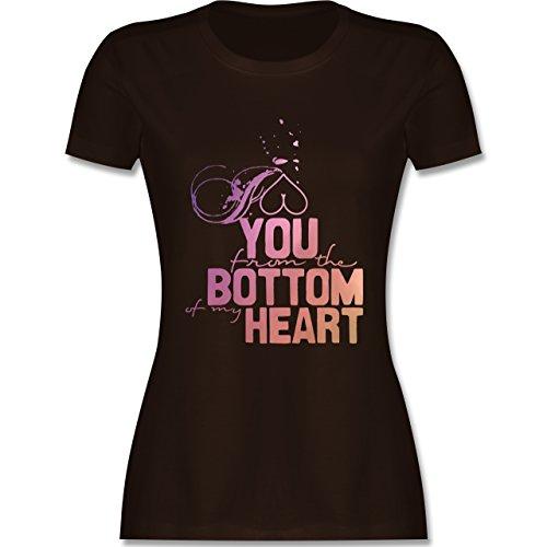 ... T-Shirt mit Rundhalsausschnitt für Damen Braun. Statement Shirts - I love  you from the bottom of my heart - tailliertes Premium T