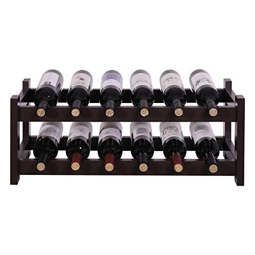 SONGMICS Fächer Holz Wein Rack, 2-stufig Tischplatte Flaschen Ablage, Espresso, ulwr02br - Was Speisekammer Amazon Ist