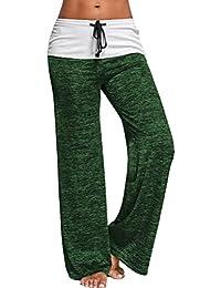 Pantalon avec Cordon Femme Baggy Loose Hip Hop Danse Sport Yoga Pantalon  Jambe Large Taille Haute Palazzo Bouffant Sarouel Trousers… dd1c314b607