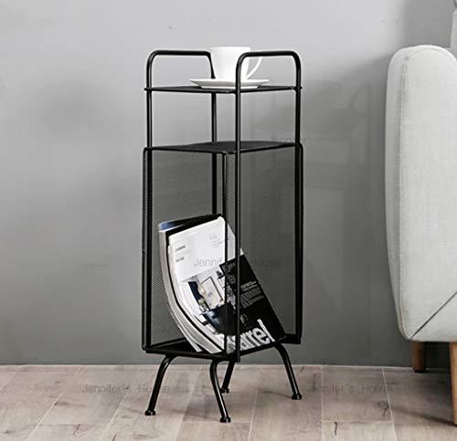 SH-shujia Nordisches einfaches Schmiedeeisen-Zeitschriften-Gestell kreatives Tischplatten-Zeitschriften-Boden-Gestell-kleines Bücherregal (Farbe : SCHWARZ) -