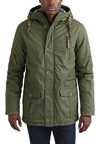 SOLID Clark Herren Winterjacke mit hochabschließendem Kragen und Kapuze aus 100% Baumwolle Ivy Green (3797)