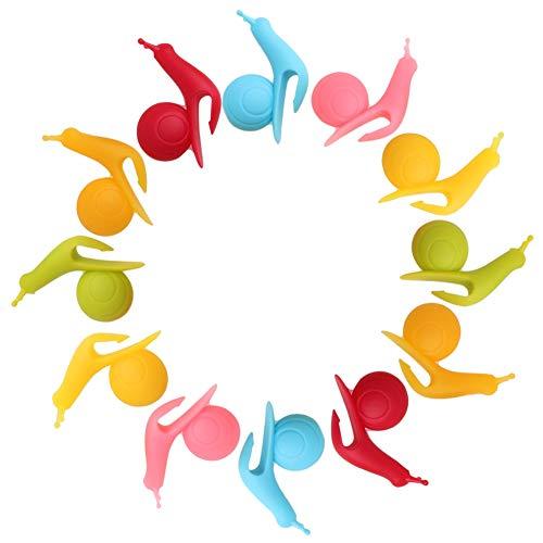SwirlColor 12 Stück neue nette bunte Schnecke Form-Silikon-Hängeteebeutelhalter-Schalen-Becher-Süßigkeit-Farben-Geschenk-Set
