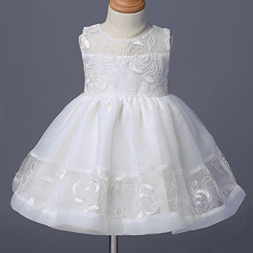 YiZYiF Baby Mädchen Taufkleid Gr. 62 68 80 86 92 Festlich Party Kleider Blumenmädchenkleid Ivory-Weiß mit Mütze Ivory 62 - 3