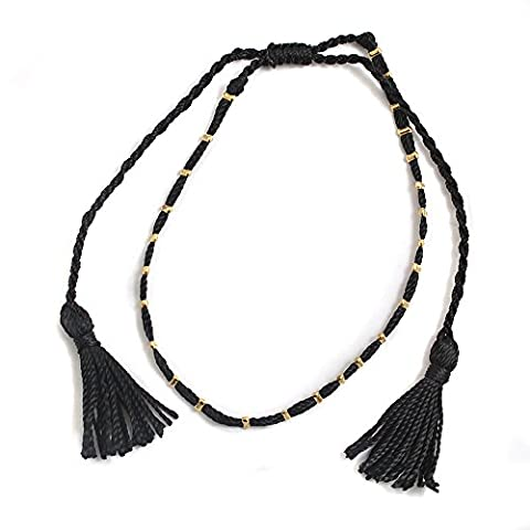 Black Cord and Tassels with Golden Tabs Trendy Ladies Ankle Bracelet Anklet perfect for Beach Summer Festival Season