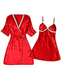 a34609387741 KUDICO Womens 2pcs Pajama Loungewear Set Ladies Sexy Solid Color Lace Sling  Dressing Gown Nightwear Sleepsuit