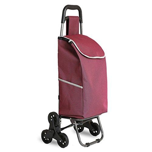 FXJ XN-Treppenhaus-Einkaufsgepäck-Faltbare Tragbare aufgefüllte Wasserdichte Taschen-Aluminiumlegierung-Stille Rad-Karren können 50kg Gewicht tolerieren (Farbe : E)