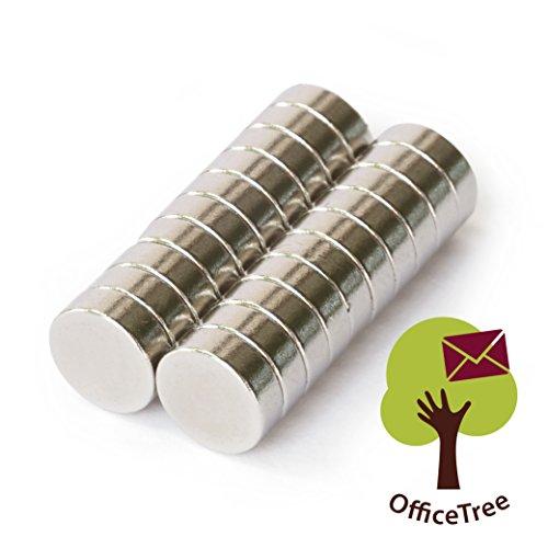 OfficeTree® 20 Neodym Mini-Magnete Scheiben-Magnete 8x3 mm rund - extra-starke Haftkraft an Whiteboard Magnet-Board Pinnwand Glasmagnet-Tafel Kühlschrank Metall-Oberflächen (Dekorative Magnet-board)