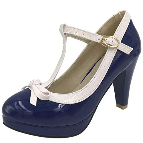 Agodor Damen T-Spangen High Heels Plateau Pumps mit Schnalle und Schleife Rockabilly Schuhe (EU 35,Dunkelblau) Chunky Heel Pumps