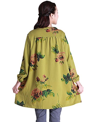 MatchLife Rétro Manches Longues Col Rond Oversized Motif Tops Blouse Vert