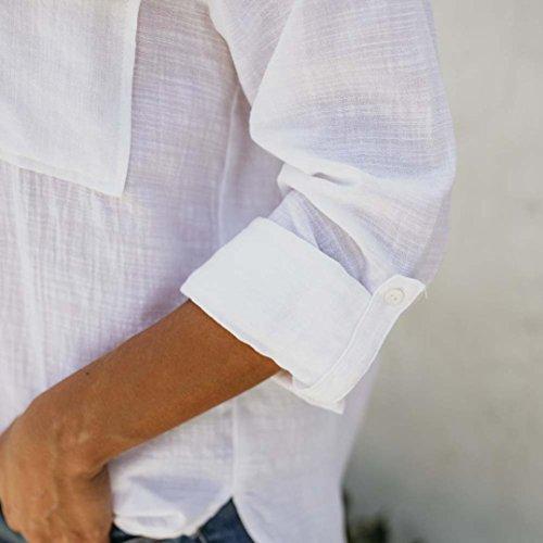 Tops de Lino de Algodón Mujeres Camisa de Manga Larga Sólida y Casual Botón de la Blusa Down Tops ❤️ Manadlian