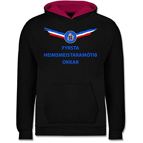 Shirtracer Fußball-Europameisterschaft 2020 Kinder - Unsere erste WM Island isländisch - 12-13 Jahre (152) - Schwarz/Fuchsia - JH003K - Kinder Kontrast Hoodie